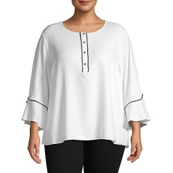 Plus Ruffled Three-Quarter Sleeve Top found on Bargain Bro India from Saks Fifth Avenue OFF 5TH for $59.99