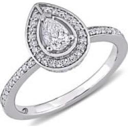 Bague de fiançailles à pourtour en or blanc 14 ct avec diamants 0,63 ct PT de taille en poire