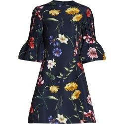 Oscar de la Renta Women's Floral Short Bell Sleeve Cocktail Dress - Navy - Size 6 found on MODAPINS from Saks Fifth Avenue for USD $2890.00