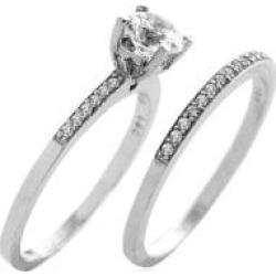 10K White Gold & Crystal 2-Piece Bridal Ring Set