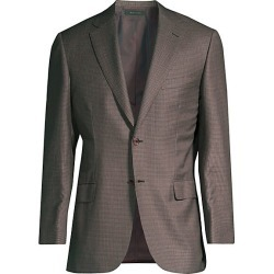 Brioni Men's Virgin Wool & Silk Check Jacket - Red Grey - Size 58 (48) R found on MODAPINS from Saks Fifth Avenue for USD $1856.25