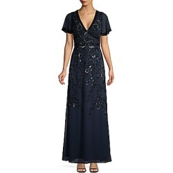 Aidan Mattox Women's Deep-V Beaded Gown - Twilight - Size 2 found on MODAPINS from Saks Fifth Avenue for USD $198.10