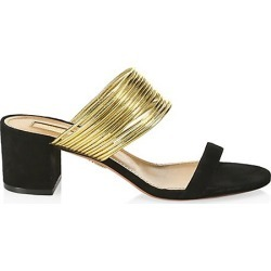 Aquazzura Women's Rendez Vous Suede Mules - Black Gold - Size 37.5 (7.5) found on MODAPINS from Saks Fifth Avenue for USD $725.00