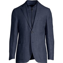 Corneliani Men's Herringbone Knit Single-Breasted Wool-Blend Jacket - Blue - Size 56 (46) R found on MODAPINS from Saks Fifth Avenue for USD $485.62