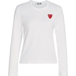 Comme des Garcons Play Women's Long-Sleeve Double Heart T-Shirt - White - Size Large found on MODAPINS from Saks Fifth Avenue for USD $118.00