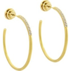 Signature 22K Yellow Goldplated & Cubic Zirconia Pavé Hoop Earrings found on Bargain Bro Philippines from Saks Fifth Avenue AU for $152.46
