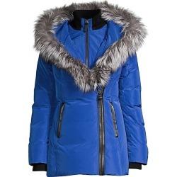 Mackage Women's Adali Fox Fur-Trim Puffer Coat - Royal - Size Small