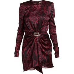 Alexandre Vauthier Women's Leopard Stretch Satin Ruched Belted Sheath Dress - Burgundy - Size 44 (12) found on MODAPINS from Saks Fifth Avenue for USD $1354.00