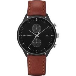 Montre en acier inoxydable à placage ionique noir et bracelet en cuir, collection Chrono Line