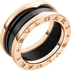BVLGARI Women's B.zero1 18K Rose Gold & Black Ceramic 2-Band Ring - Rose Gold - Size 6 found on Bargain Bro Philippines from Saks Fifth Avenue for $1610.00