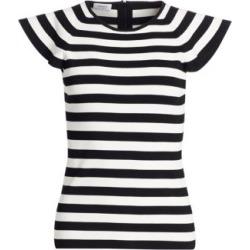Flounce-Sleeve Striped Tee