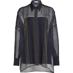 Brunello Cucinelli Women's Monili Chain Trim Blouse - Midnight Blue - Size Small found on MODAPINS from Saks Fifth Avenue for USD $2995.00