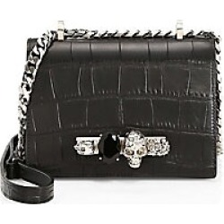 Alexander McQueen Women's Small Jewelled Croc-Embossed Leather Crossbody Bag - Black found on MODAPINS from Saks Fifth Avenue for USD $1990.00