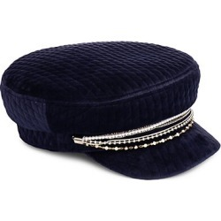 Eugenia Kim Women's Marina Chain-Trimmed Quilted Velvet Newsboy Cap - Navy found on MODAPINS from Saks Fifth Avenue for USD $265.00