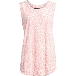 Le Superbe Women's Leopard Spot Cotton Muscle Shirt - Pink White - Size Small