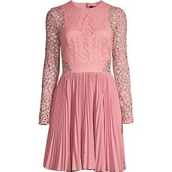 Aidan Mattox Women's Lace Pleated Skirt A-Line Cocktail Dress - Canyon Cly - Size 8 found on MODAPINS from Saks Fifth Avenue for USD $220.00
