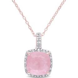 Collier en argent sterling plaqué or rose avec quartz et diamant
