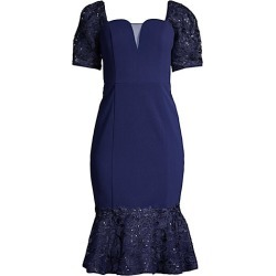 Aidan Mattox Women's Lace Flounce Puff-Sleeve Cocktail Dress - Navy - Size 8 found on MODAPINS from Saks Fifth Avenue for USD $140.00