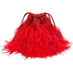 Attico Women's Allover Ostrich Feather Mini Pouch - Red found on MODAPINS from Saks Fifth Avenue for USD $1198.00