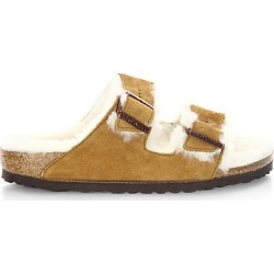Birkenstock Women's Arizona Shearling & Suede Slides - Brown - Size 39 (8) Sandals found on MODAPINS from Saks Fifth Avenue for USD $150.00