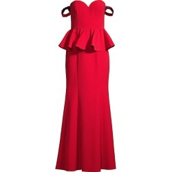 Aidan Mattox Women's Off-The-Shoulder Peplum Evening Gown - Red - Size 10 found on MODAPINS from Saks Fifth Avenue for USD $132.00