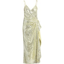 Attico Women's Satin Paillettes Wrap Dress - Pale Yellow - Size 6 found on MODAPINS from Saks Fifth Avenue for USD $933.99