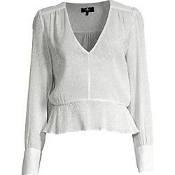 7 For All Mankind Women's Silk Metallic V-Neck Peplum Blouse - Silver - Size Small found on MODAPINS from LinkShare USA for USD $179.00