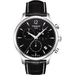 Tradition Chronograph Black Leather Strap Watch
