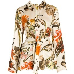 Off-White Women's Floral Satin Pajama Shirt - Off White - Size 36 (0) found on MODAPINS from Saks Fifth Avenue for USD $602.00