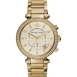 Michael Kors Parker Pavé Goldtone Stainless Steel Chronograph Bracelet Watch - Gold found on Bargain Bro India from Saks Fifth Avenue for $275.00