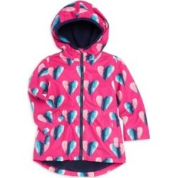 Little Girl's & Girl's Heart Microfiber Rain Jacket