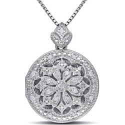 .10 CT Diamond and Sterling Silver Locket Necklace