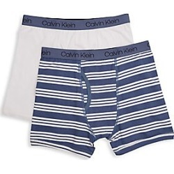 Calvin Klein Boy s Stripe Stretch Cotton Boxer Briefs Pack of 2 - Blue Grey  - eae3dff07f2