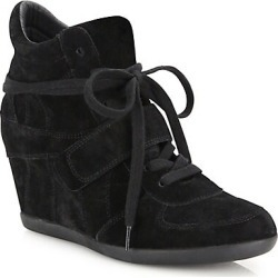 Ash Women's Bowie Suede High-Top Wedge Sneakers - Black - Size 37 (7) found on MODAPINS from Saks Fifth Avenue for USD $210.00