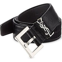Saint Laurent Men's Croc-Embossed Leather Belt - Black - Size 100 (40) found on Bargain Bro Philippines from Saks Fifth Avenue for $575.00