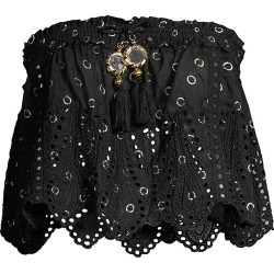 Ramy Brook Women's Daniela Embellished Eyelet Smocked Cropped Top - Black - Size Large found on Bargain Bro India from Saks Fifth Avenue for $74.00