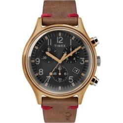 Montre chronographe en acier inoxydable avec boîtier bronze de 42 mm, cadran noir et bracelet en cuir MK1, TW2R96300VQ