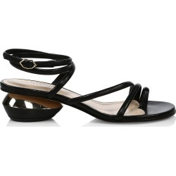 Nicholas Kirkwood Women's Beya Ankle-Wrap Leather Sandals - Black - Size 11 found on MODAPINS from Saks Fifth Avenue for USD $595.00