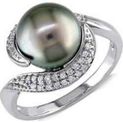 Bague en or blanc 10 ct avec perle de Thaiti noire de 9 à 9,5 mm et diamants de 0,14 ct PT