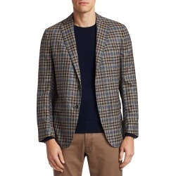Saks Fifth Avenue Men's COLLECTION Plaid Wool & Silk Basketweave Sportcoat - Brown Blue - Size 48 R found on Bargain Bro Philippines from Saks Fifth Avenue OFF 5TH for $199.99