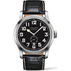 Longines Men's Heritage Military Embossed Leather Strap Watch - Black found on MODAPINS from Saks Fifth Avenue for USD $2050.00