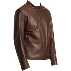 COLLECTION Banded Collar Leather Jacket
