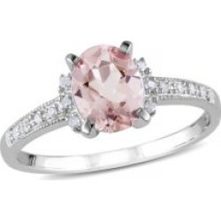 Bague en argent sterling avec 1,14 ct PT de morganite et diamants