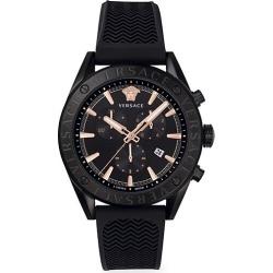 V-Chrono IP Black Silicone Strap Watch found on Bargain Bro UK from Saks Fifth Avenue UK