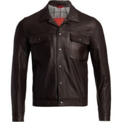 Point Collar Leather Jacket