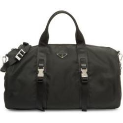 Leather-Trim Nylon Gym Bag