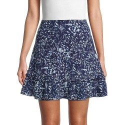 Nicole Miller Women's Floral-Print Silk-Blend Flared Mini Skirt - Navy White - Size L found on MODAPINS from Saks Fifth Avenue OFF 5TH for USD $89.99