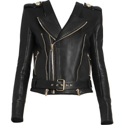 Balmain Women's Leather Moto Jacket - Black - Size 46 (14) found on MODAPINS from Saks Fifth Avenue for USD $2695.00