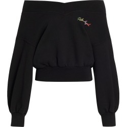 Palm Angels Women's Miami Logo Off Shoulder Sweatshirt - Black - Size Small found on MODAPINS from Saks Fifth Avenue for USD $645.00