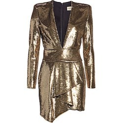 Alexandre Vauthier Women's Micro Sequins Plunge Mini Dress - Platinum - Size 40 (8) found on MODAPINS from Saks Fifth Avenue for USD $3080.00